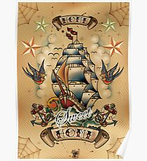Oldschool Tattoo Home sweet Home Poster