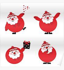 Vector illustration of cute cartoon Santa Claus set in various poses Poster
