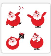 Vector illustration of cute cartoon Santa Claus set in various poses Sticker