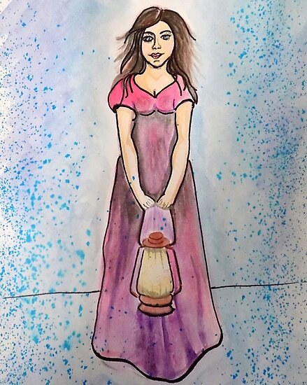 Watercolour Lady With Lantern by MelsieArt