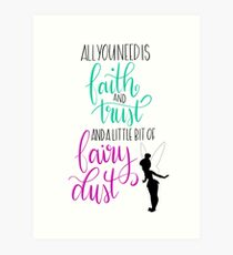 Tinkerbell quotes wall art redbubble peter pan quote tinkerbell art print voltagebd Choice Image