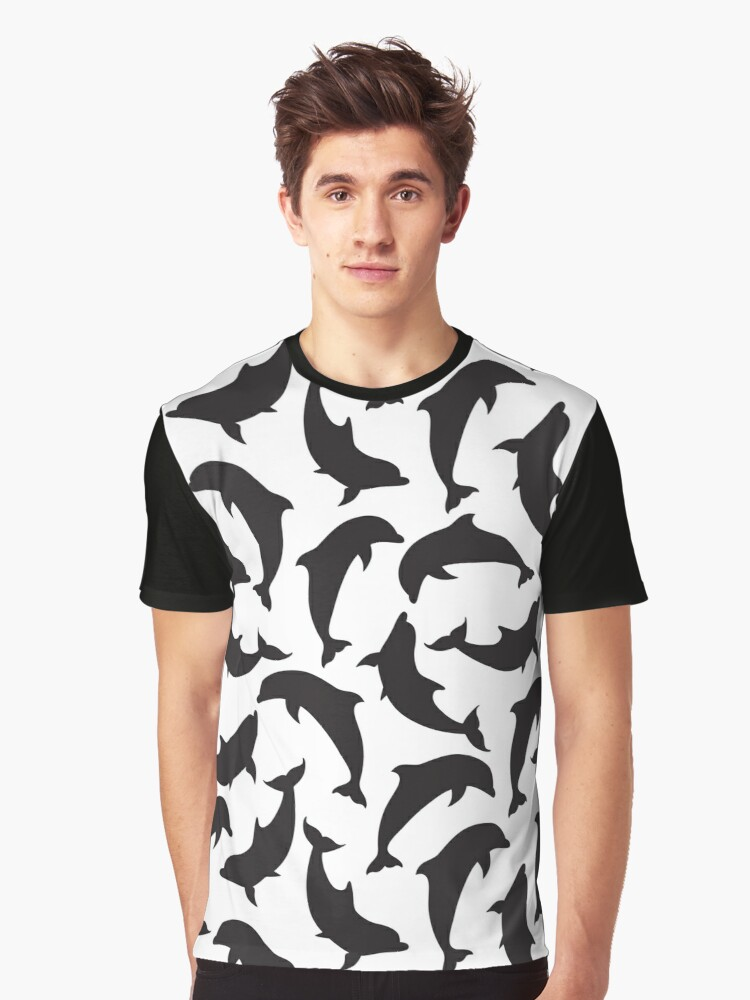 Black silhouettes of dolphins Graphic T-Shirt Front