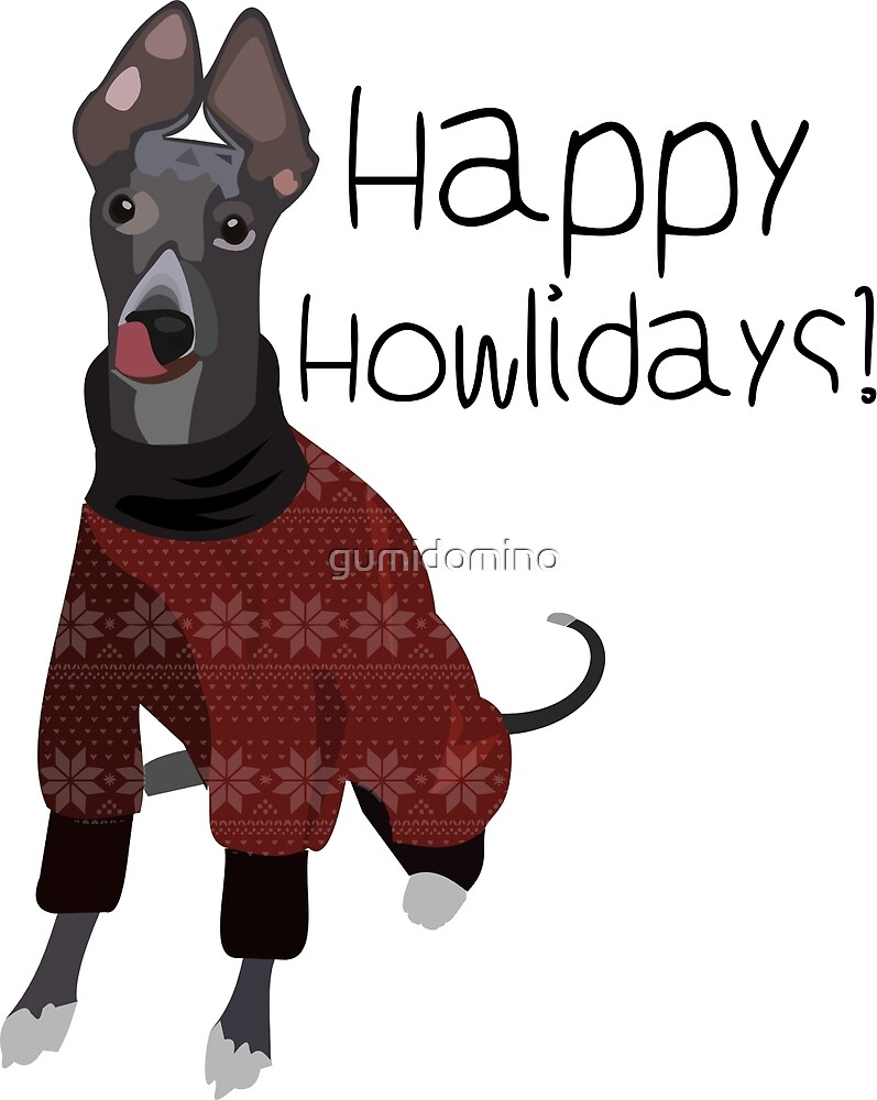 christmas dog, whippet by gumidomino