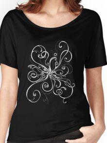 White On Black Burst Women's Relaxed Fit T-Shirt
