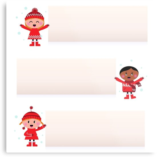 Christmas multicultural kids banner collection by Bee and Glow Illustrations Shop