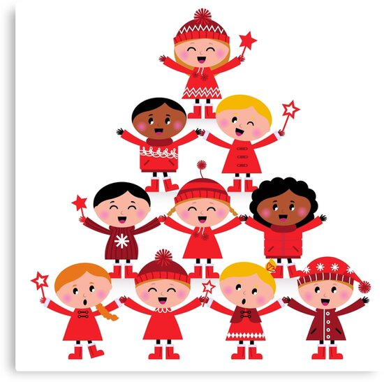 Happy multicultural kids in red winter costumes. Great design for christmas party. by Bee and Glow Illustrations Shop