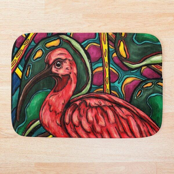 Ibis rouge, oiseau exotique sur fond abstrait jungle Tapis de bain