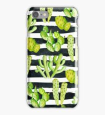 cactuses on black watercolor stripes iPhone Case/Skin