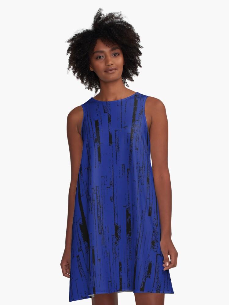Line Art - The Bricks, black and dark blue A-Line Dress Front