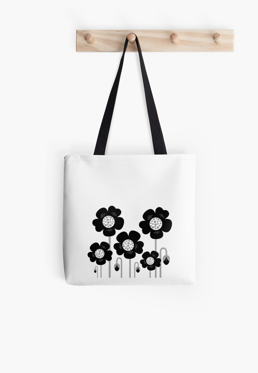 Black and white simple Flower background by Bee and Glow Illustrations Shop