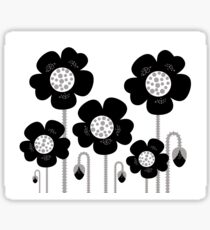 Black and white simple Flower background Sticker