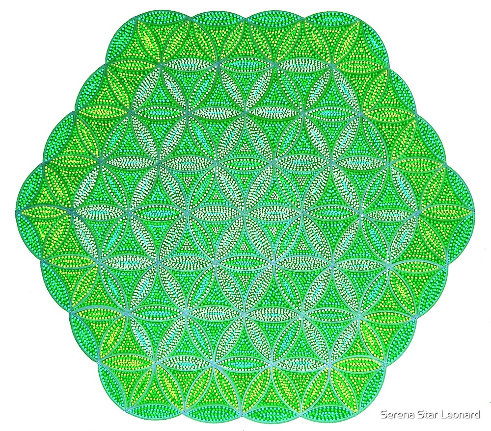 Flower of Life - Green and Yellow Painted Mandala - Colourful Dots by Serena Star Leonard