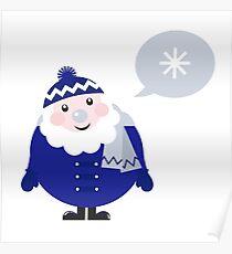Blue Santa thinking about Snowflake cartoon Poster