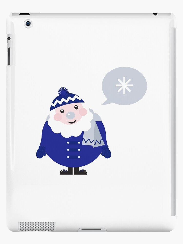 Blue Santa thinking about Snowflake cartoon by Bee and Glow Illustrations Shop