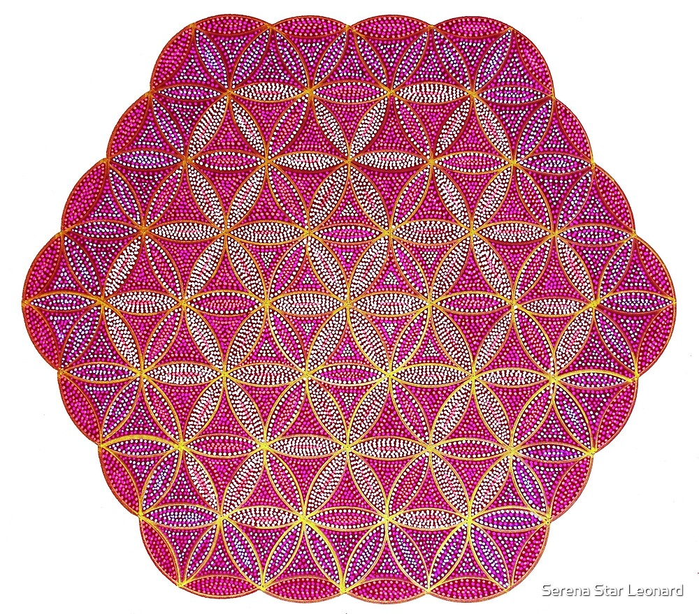 Flower of Life - Pink and Gold Painted Mandala - Colourful Dots by Serena Star Leonard