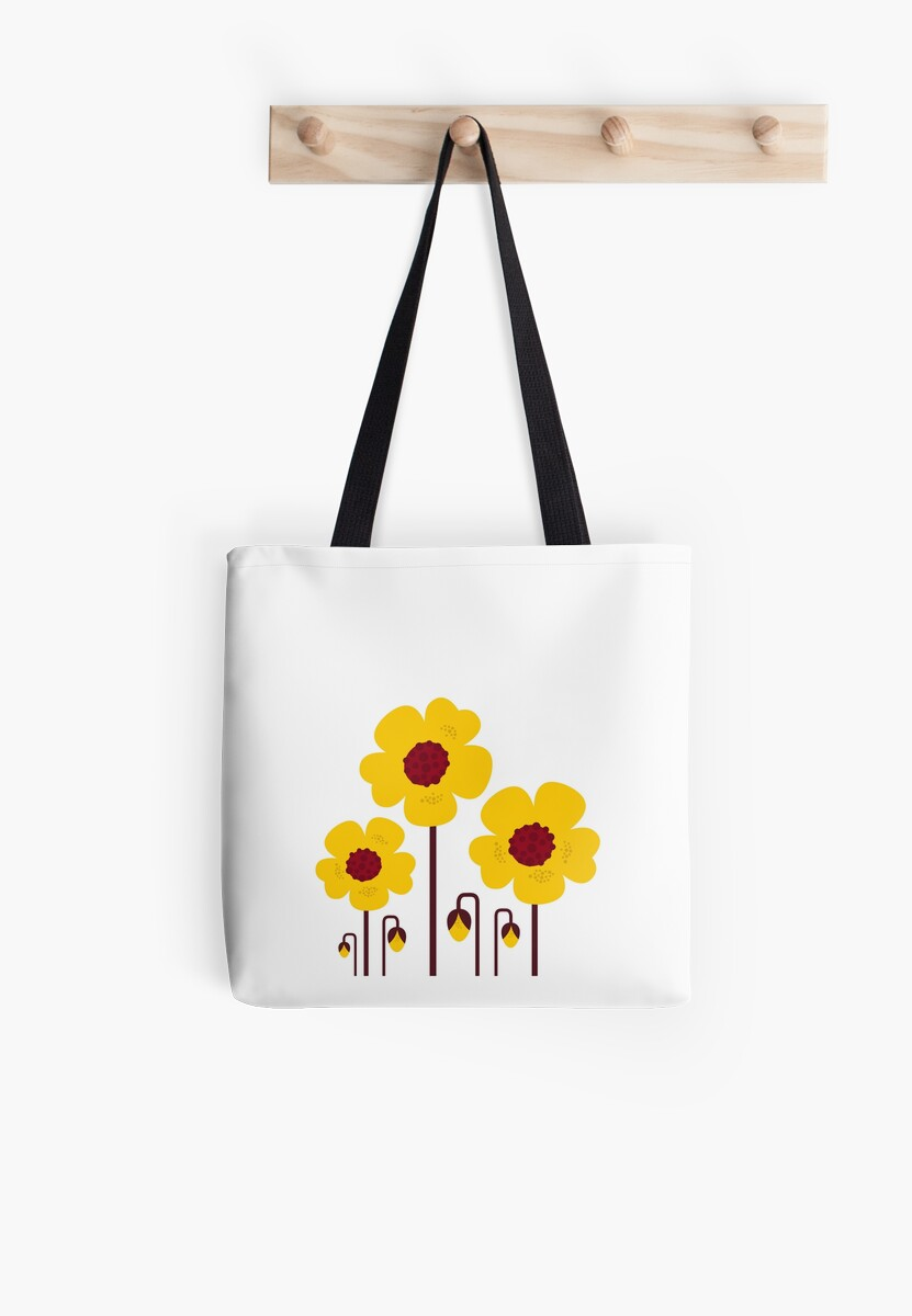 Retro yellow flowers : this is original hand-drawn illustration by Bee and Glow Illustrations Shop