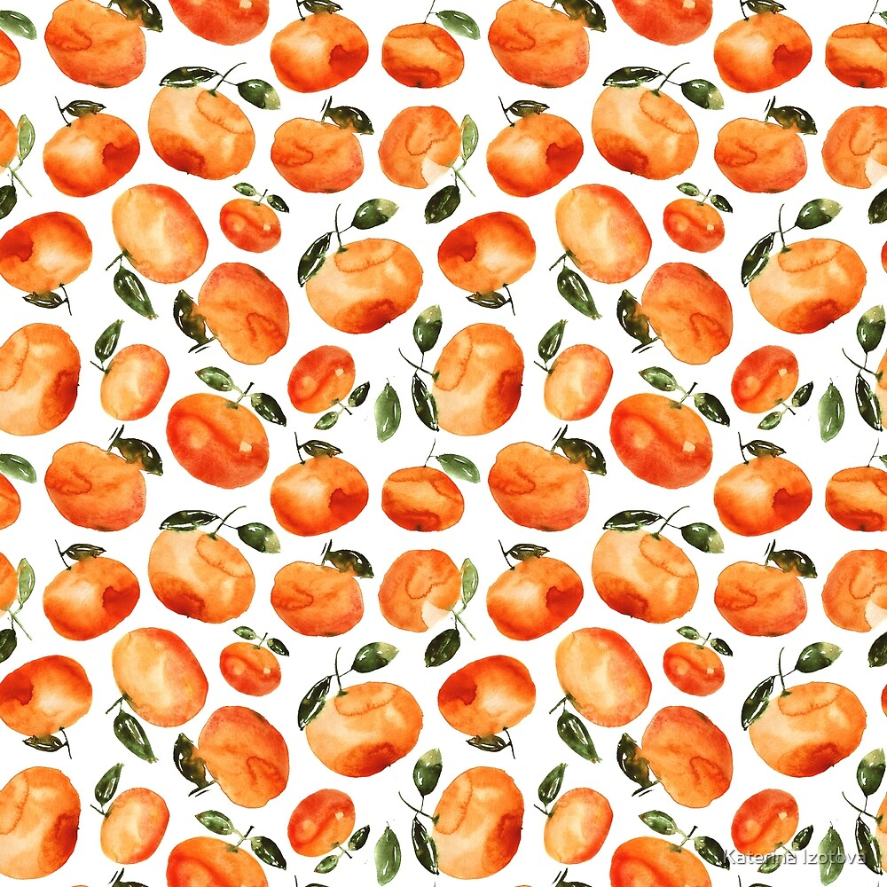 Watercolor tangerines by Katerina Izotova