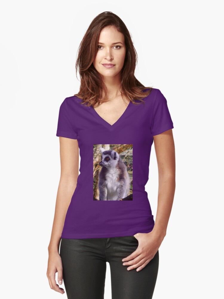 Ring Tailed Lemur Women's Fitted V-Neck T-Shirt Front