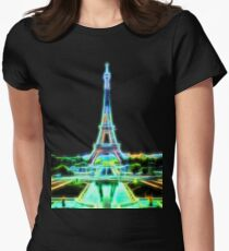 Glowing Eiffel Tower Womens Fitted T-Shirt