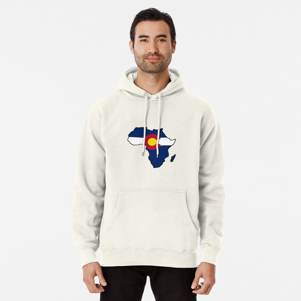 Colorado flag Africa outline Pullover Hoodie Front