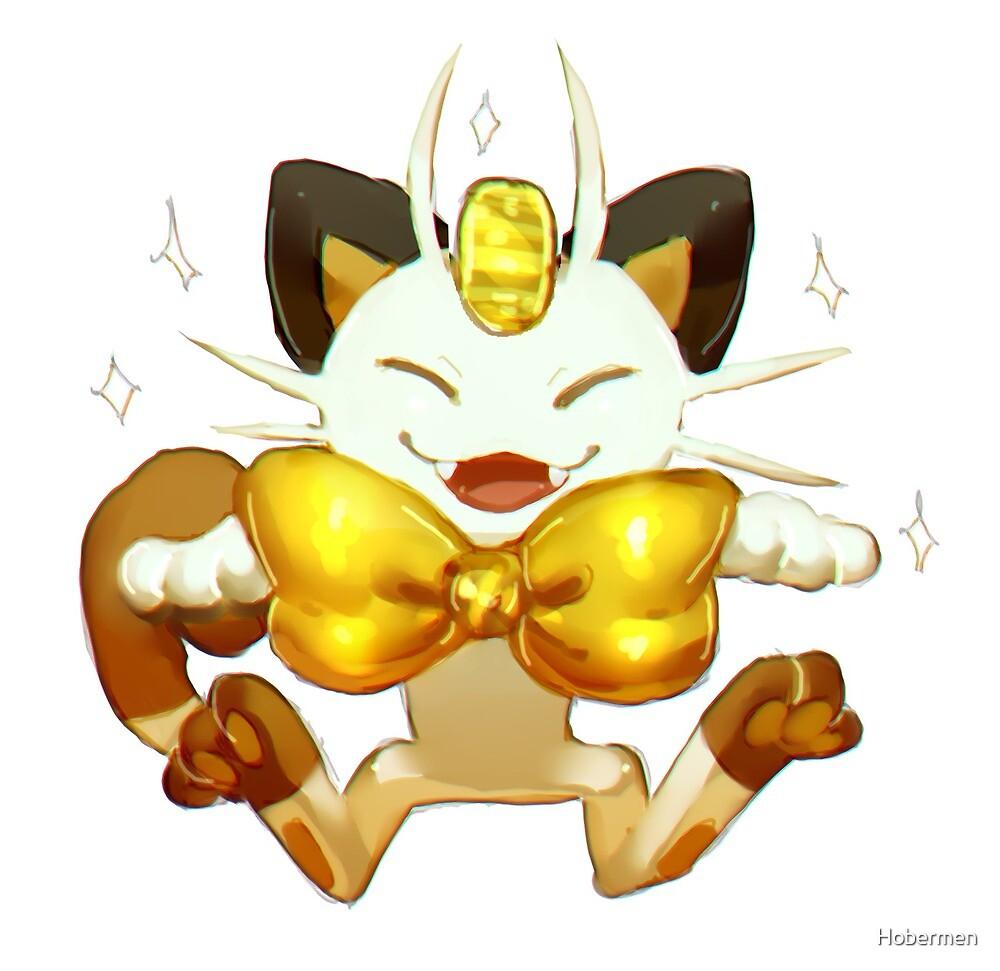 Gold Bow Meowth by Hobermen