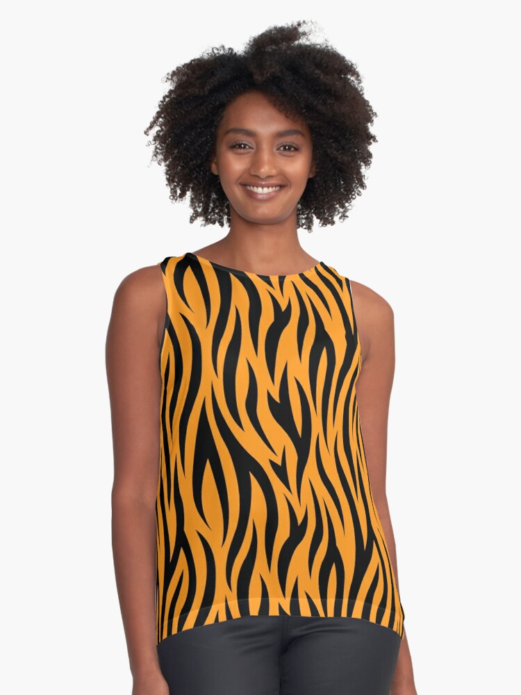 Tiger stripes print, fun bold animal print design in black and orange, classic statement fashion clothing, soft furnishings and home decor  Contrast Tank Front