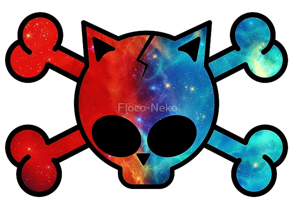 Skull - Neko Cat - Galaxy - Nebula - Red Blue by Floco-Neko