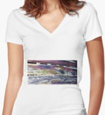 Colorful Barnboard  Women's Fitted V-Neck T-Shirt