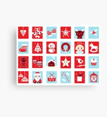 Christmas icons and design elements - red and blue Canvas Print