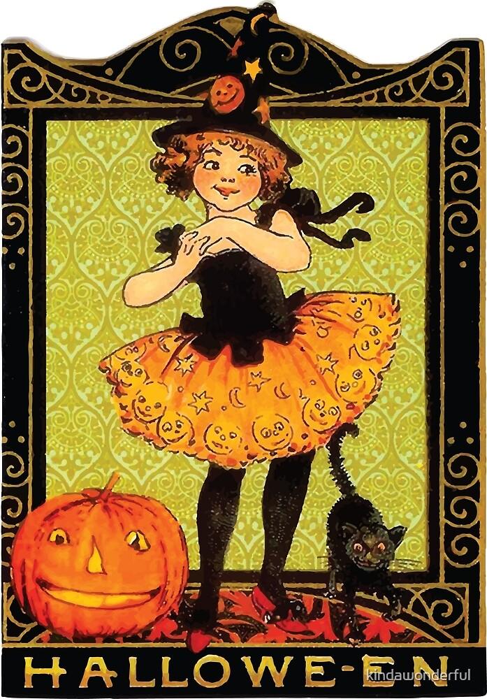 Vintage Halloween Girl, Cat & Jack-O-Lantern by kindawonderful