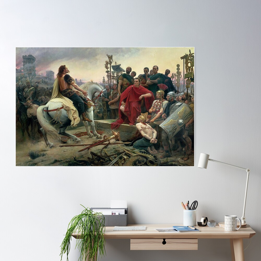 Celtic leader Vercingetorix surrenders to Caesar  Poster