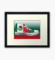 Hi Top Mexico Basketball Shoe Flag Framed Print