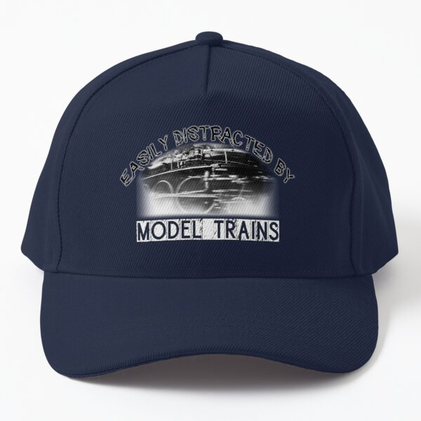 Easily distracted by model trains classic steam locomotive stylish train design Baseball Cap