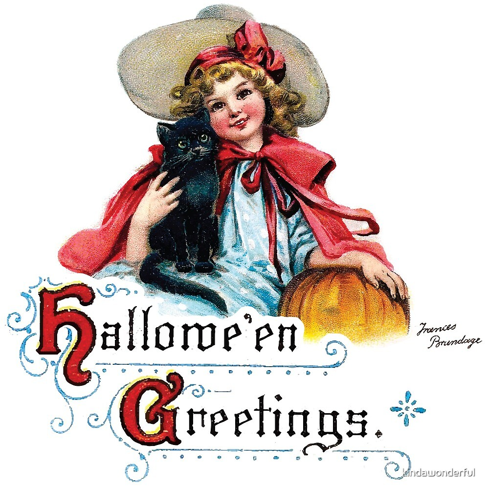 Vintage Halloween Girl with Black Cat & Pumpkin by kindawonderful