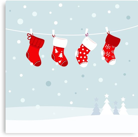 Cute christmas stockings, winter snow in background by Bee and Glow Illustrations Shop