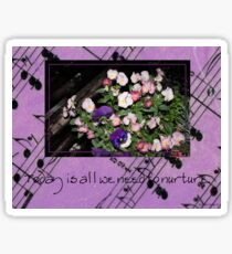 Inspired by pansies with quote and sheet music background Sticker
