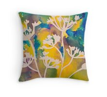Cow Parsley Abstract Silhouette Throw Pillow