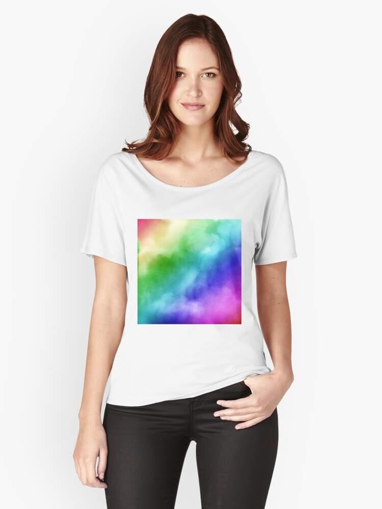 Rainbow Watercolors Women's Relaxed Fit T-Shirt Front