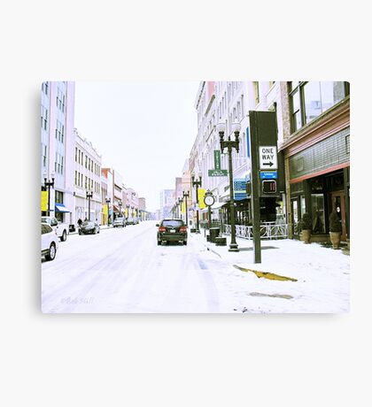 """""""A Cold and Snowy Day in Downtown Knoxville, Tennessee""""... prints and products Canvas Print"""