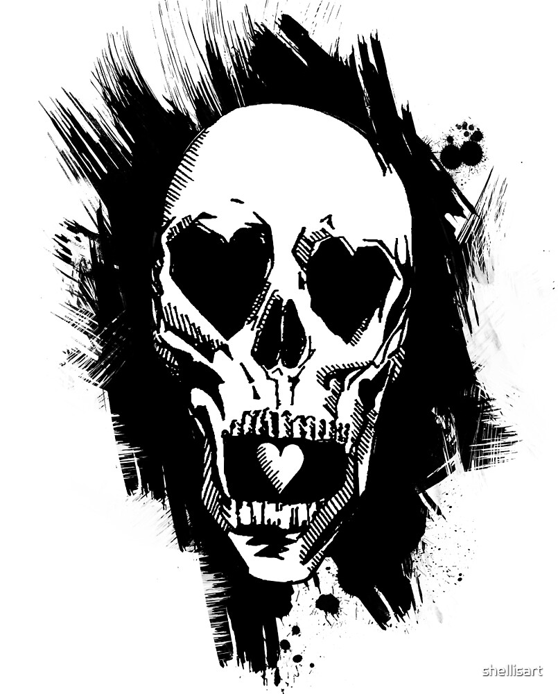 Skull with a Heart by shellisart
