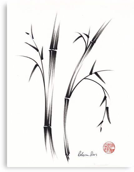 """Morning""  sumi-e brush pen bamboo drawing/painting by Rebecca Rees"