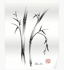 """Morning""  sumi-e brush pen bamboo drawing/painting Poster"