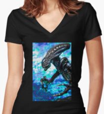 Alien from sci-fi movie Women's Fitted V-Neck T-Shirt