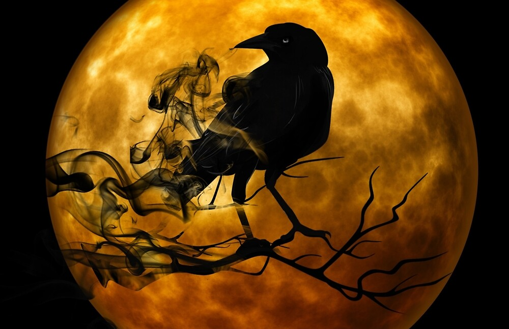 Halloween Moon and Raven by CyclopsApparel