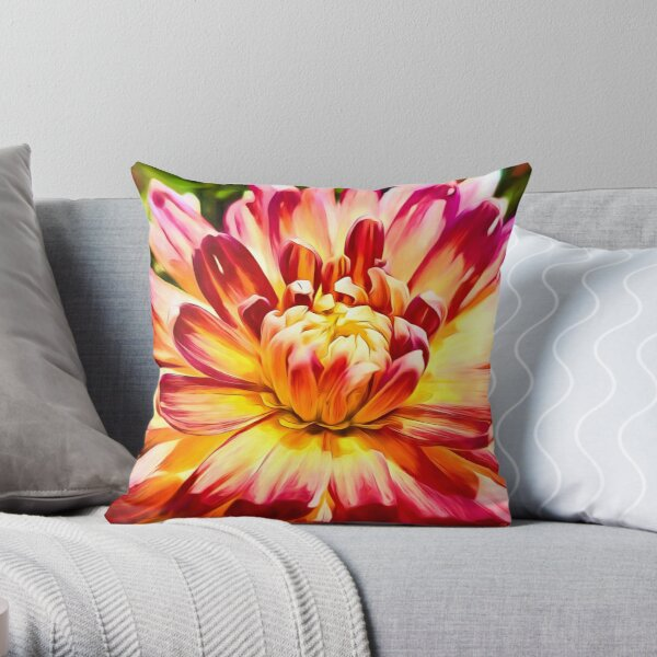 Red and Yellow Dahlia Throw Pillow