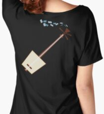 While My Shamisen Gently Weeps (blue) Women's Relaxed Fit T-Shirt