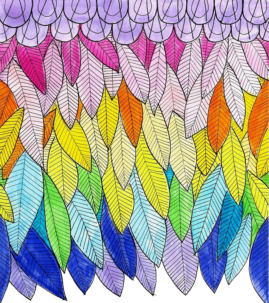 rainbow feathers by pinkbirds