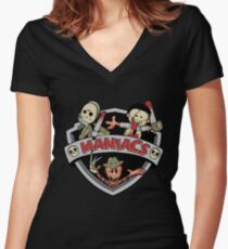 MANIACS! Women's Fitted V-Neck T-Shirt