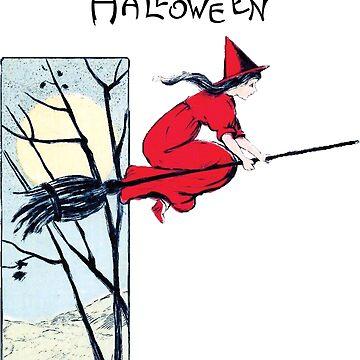 Vintage Halloween Witch on Broom by kindawonderful