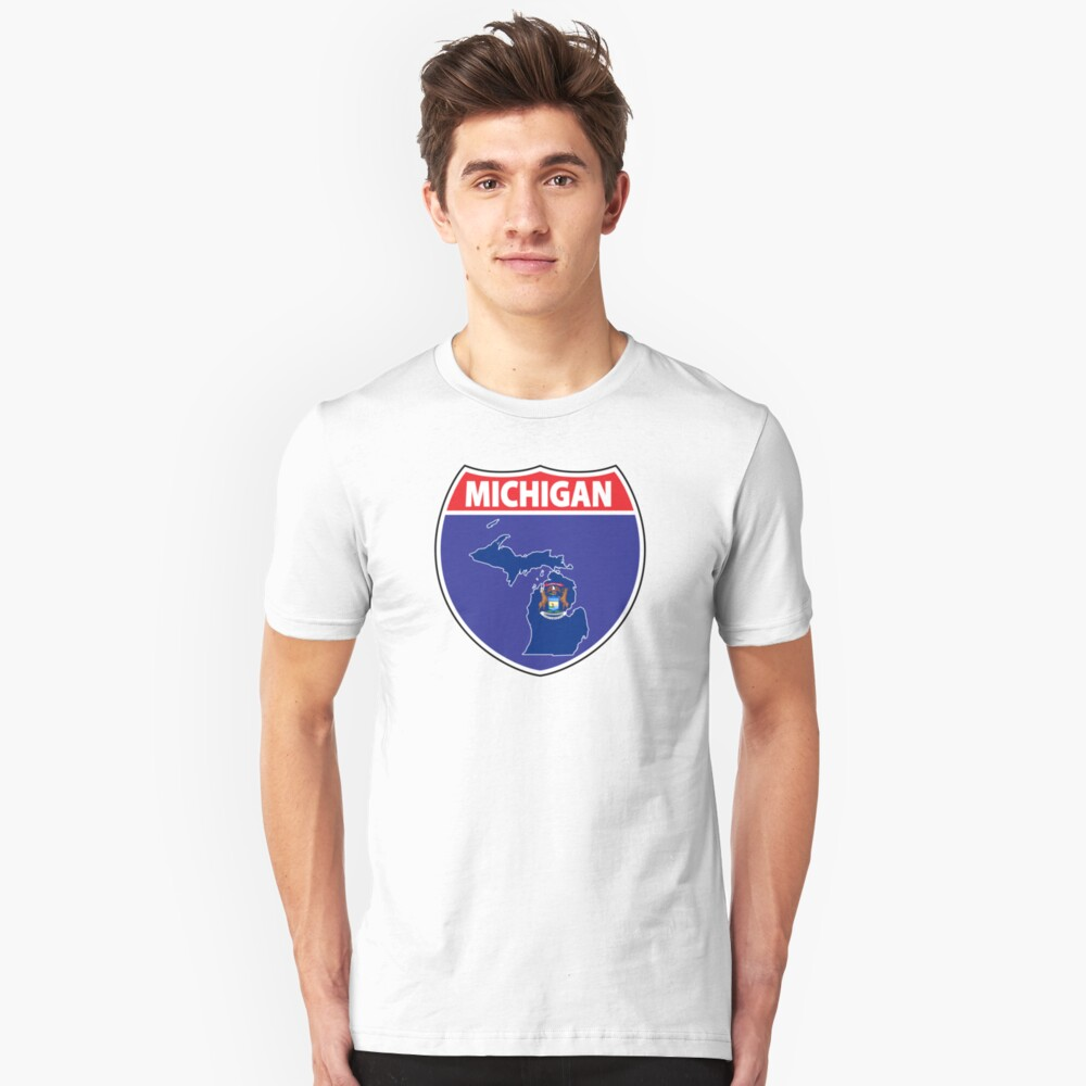 Michigan flag USA highway seal sign Unisex T-Shirt Front